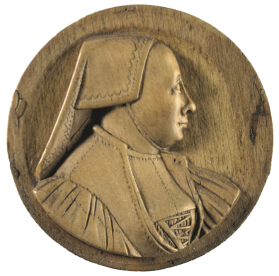 This boxwood medallion is of an elderly woman, in profile to the right, wearing a folded linen cap with no hair visible, a laced bodice and gathered sleeves. The medallion is 1½ in (3.8 cm) in diameter and was carved in Germany in 1530.