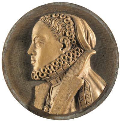 This boxwood medallion (fig. 4) is of Maria, Infanta of Spain and wife of Maximilian II, King of Bohemia, Hungary and Croatia, who became Holy Roman Emperor in 1564. He was a Hapsburg and necessarily a Catholic but he was sympathetic to the Protestant cause. She was his cousin and had 15 children, who had illustrious careers and marriages. She is in profile to the left on the medallion and is wearing a cap with a frilled edge, a ruff and a cloak with a fur collar. The medallion is 1 5/8 in (4.1 cm) in diameter, carved in Milan by the celebrated sculptor, Antonio Abondio, in 1570. It may have been a model for a similar silver medallion, now in the Metropolitan Museum of Art.