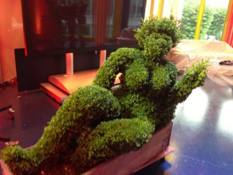 A topiary figure in the One Show Studio for their front garden topiary item