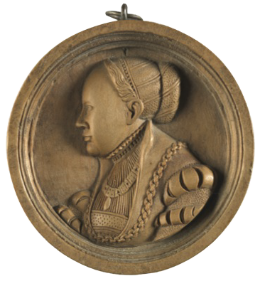 This medallion shows a portrait of Sibylla, Duchess of Cleves, a German state on the Rhine, in the 16th century. She became the wife of John Frederick, Elector of Saxony. She had four sons, three of whom became Dukes of German states. John Frederick the Magnanimous was a staunch upholder of Protestantism and a friend of Martin Luther, whose 95 theses against the selling of indulgences were nailed to the doors of the castle church of Wittenburg, the seat of the Elector. Occurring thereby the enmity of the Holy Roman Emperor, Saxony was invaded and he was made a prisoner after the battle of Mühlberg in 1547, while Sibylla organised the defence of the town of Wittenburg. John Frederick then had to cede the town to save his family. He was condemned to death but the sentence was commuted to life imprisonment On the medallion she is in profile to the left, bareheaded with her hair dressed with diagonal bands; wearing an open jacket with puffed sleeves and the collar of an order and a gold chain. It is 2 1/8 in (5.40 cm) in diameter; and is inscribed: SIBILLA. HER=JOHANS FRIDERF CVRVIRSTIN ZV SACHSEN. It was carved in Germany in 1540.