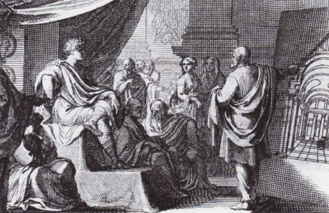 A depiction of Vitruvius presenting De Architectura to Augustus - taken from Vitruvius on Archtitecture by Thomas Gordon Smith (Wikipedia)