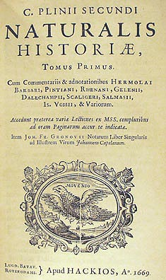 Front page of Plinius maiors Naturalis Historia (Photo: Wikipedia)