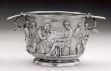 Silver cup showing Priam imploring Achilles to return the body of Hector (Photo: Courtesy National Museum, Copenhagen)