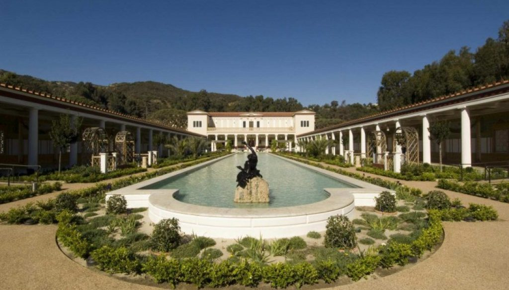 Reconstructed Roman garden at the J Paul Getty Museum in Malibu, California, based on the Villa dei Papiri in Herculaneum