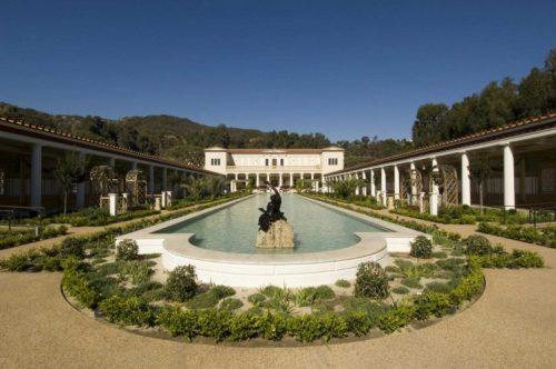 Reconstructed Roman garden at the J Paul Getty Museum in Malibu, California, based on the Villa dei Papiri in Herculaneum