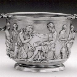 Silver cup showing Priam imploring Achilles to return the body of Hector (courtesy National Museum, Copenhagen)