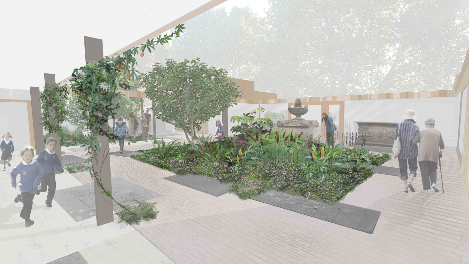 Artist impression of the Dan Pearson designed garden - sadly this won't be completed by the time of the AGM