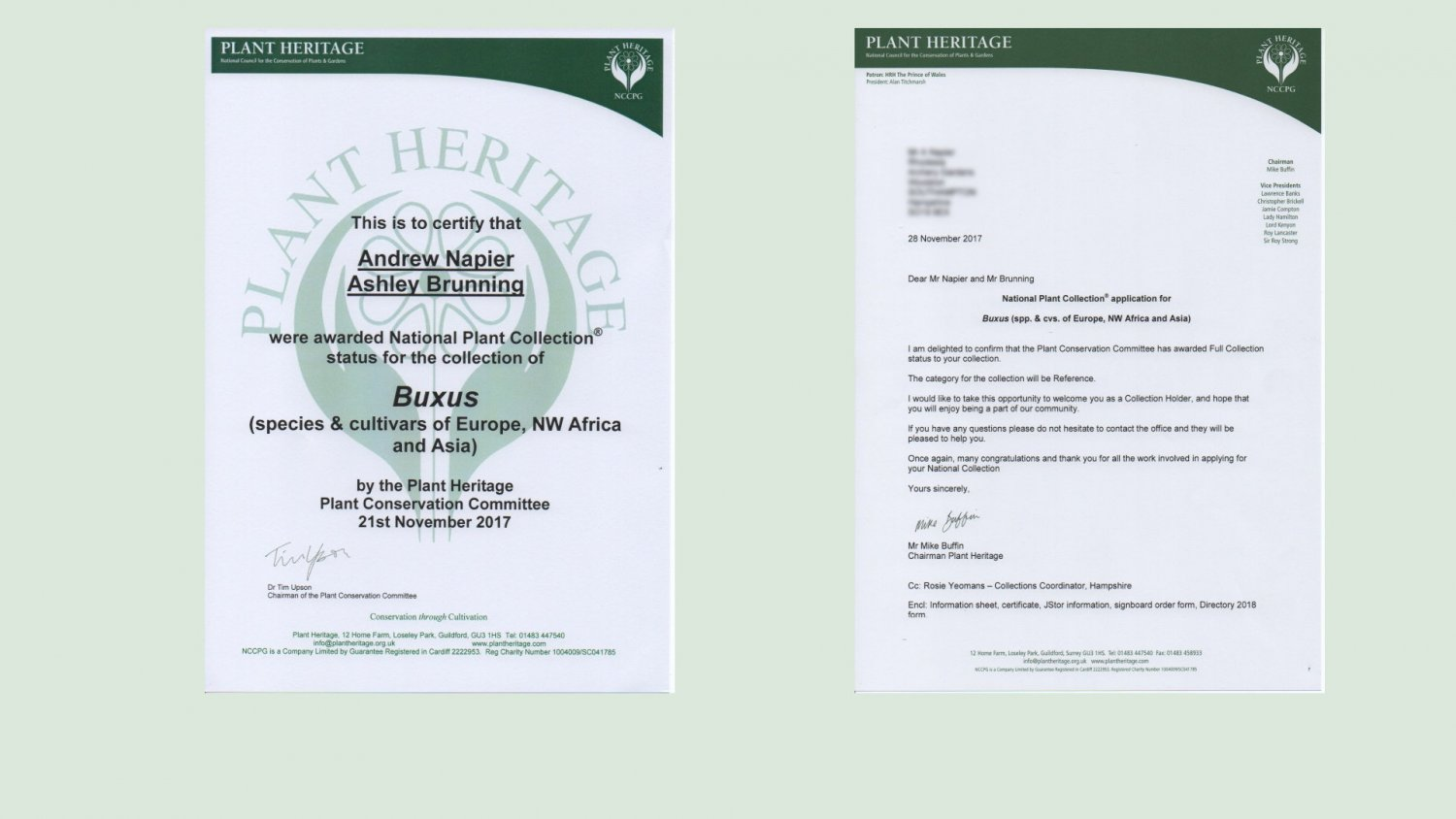 National Collection certificates