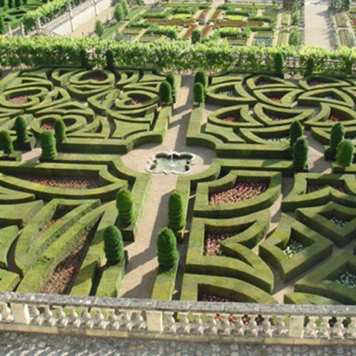 Chateau de Villandry - C16 chateau of the Loire with Renaissance gardens best viewed from the Belvedere. One gardens is planted with vegetables