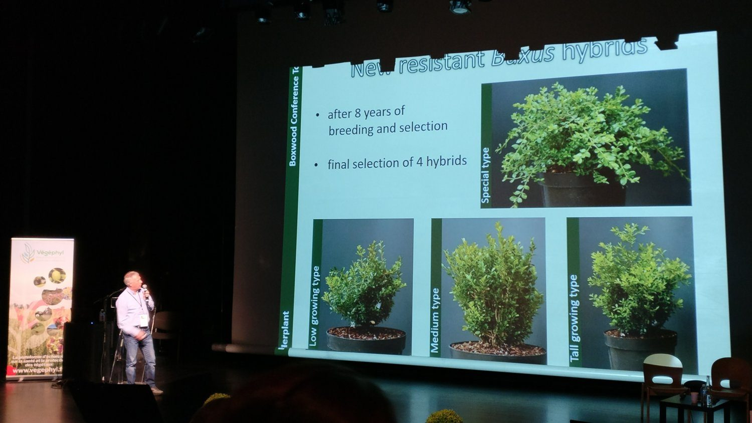Didier Hermans showing the conference examples of the 4 blight resistant hybrids