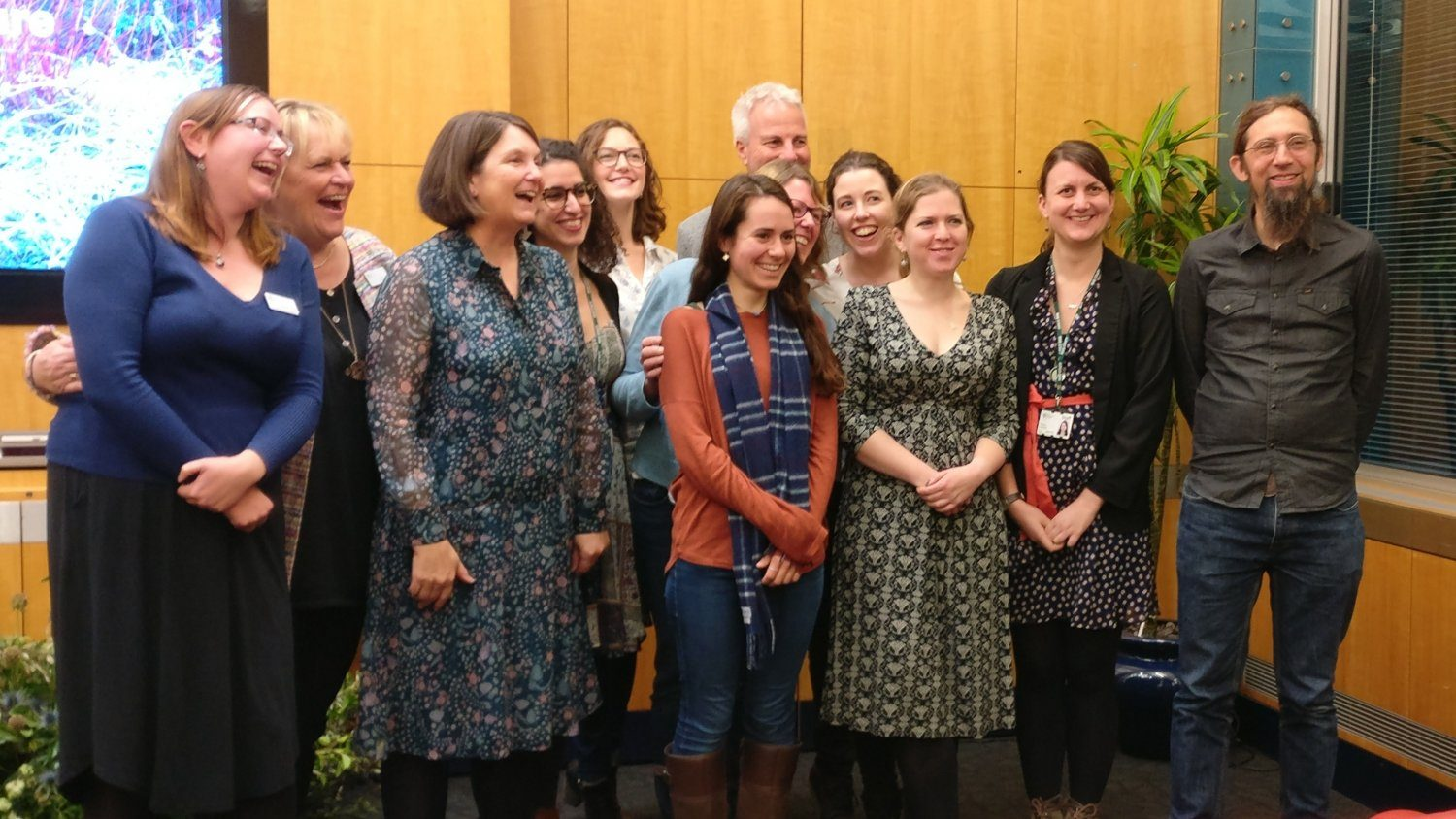 Sue Biggs RHS Director General & Professor Nicola Spence (2nd & 3rd from the left) along with some of the RHS Science team