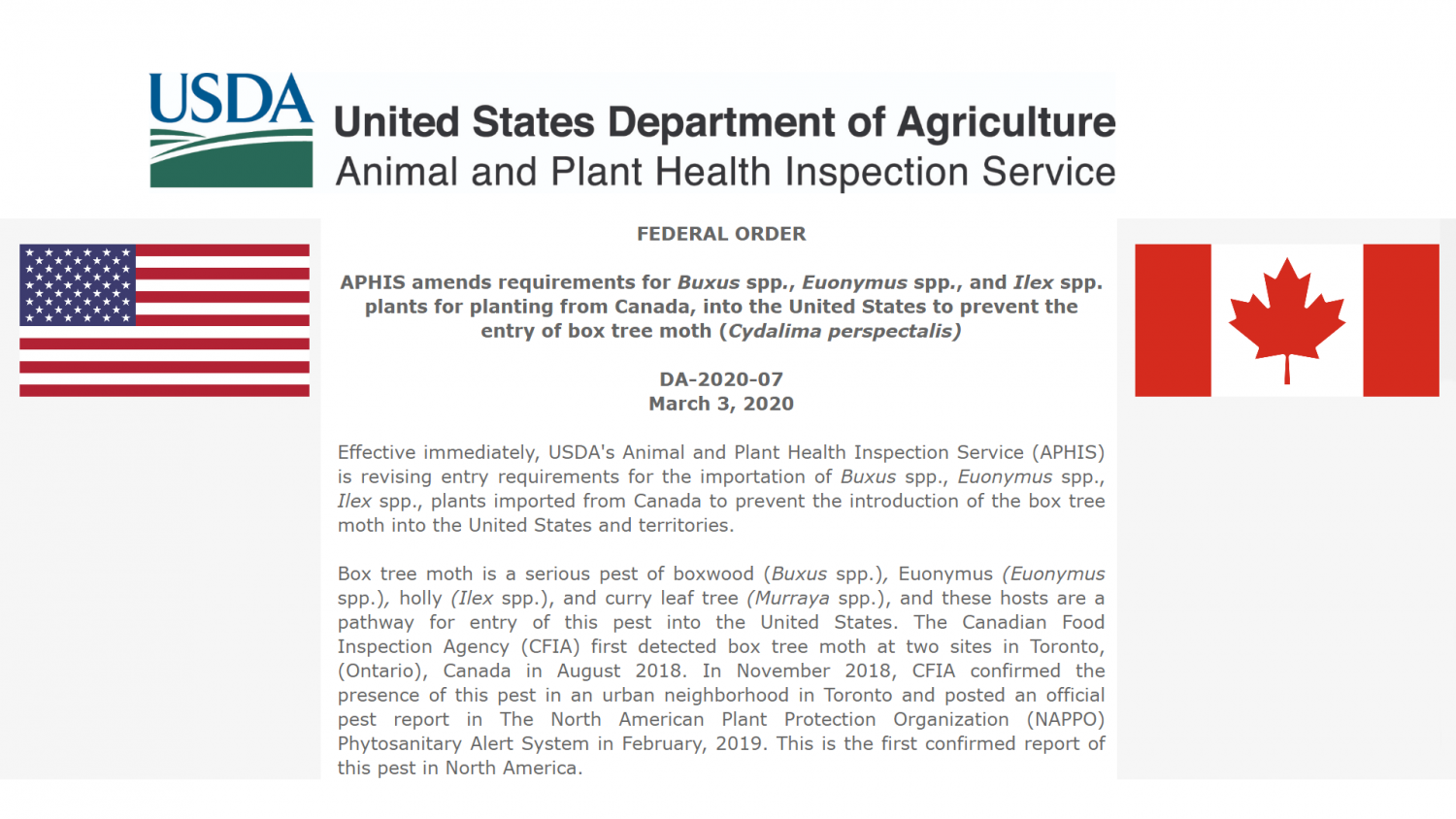 USDA APHIS Announcement HL