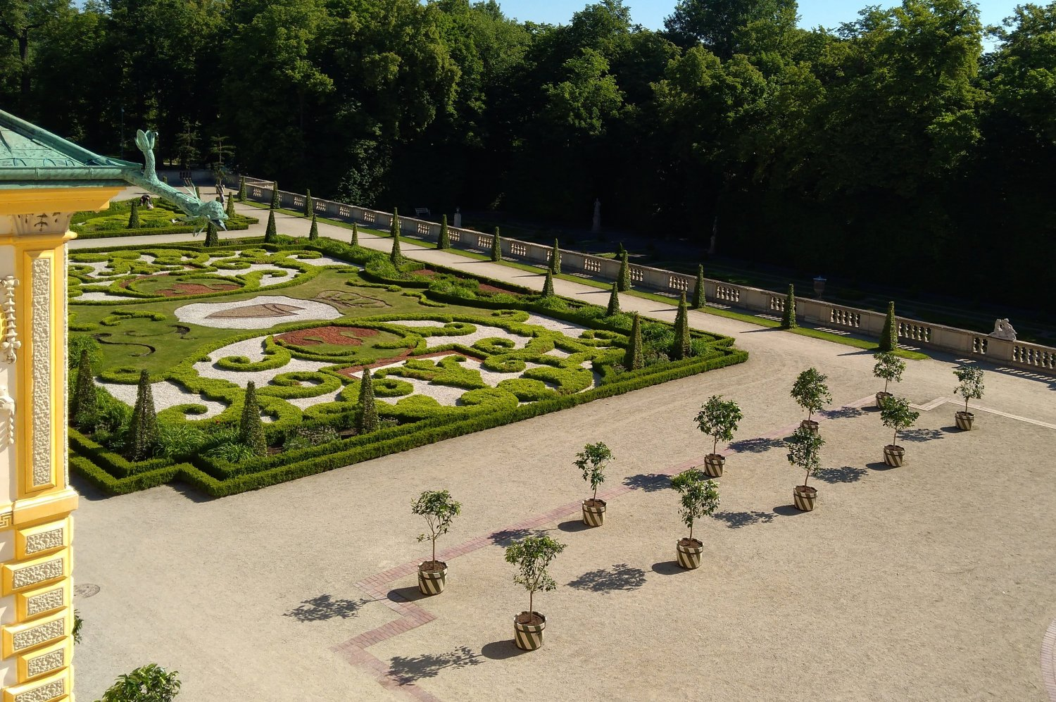 Part of the garden embroidery parterre with the citrus trees on the upper baroque garden at Wilanów