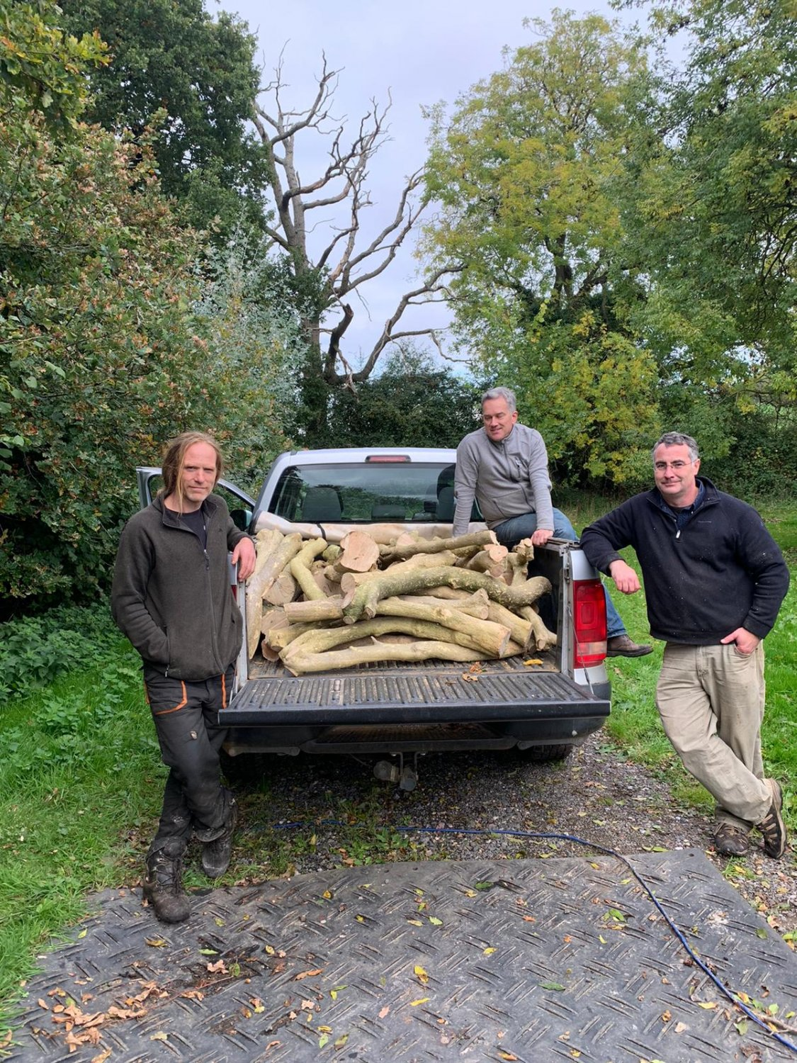 The tree surgeon with Huw Crompton and Matthew Platt plus a truck full of felled boxwood