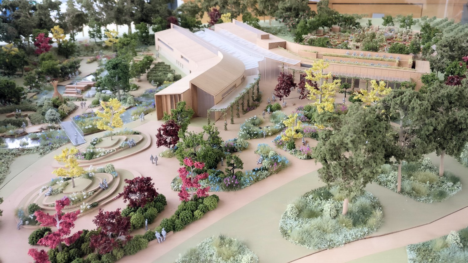 Model of the new science and education centre at RHS Wisley surrounded by the Well Being gardens which were designed by Matt Keightley